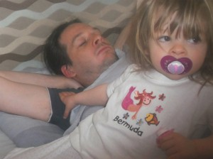 Caption day, bermuda tshirt, father and daughter