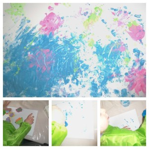 underwater scene painting, childrens art, painting, finger paints
